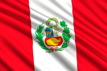 waving flag of Peru. Vector illustration Vettoriali