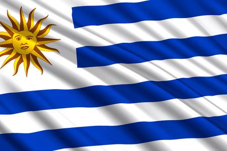 waving flag of Uruguay. Vector illustration Illustration