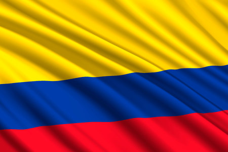 waving flag of Colombia. Vector illustration