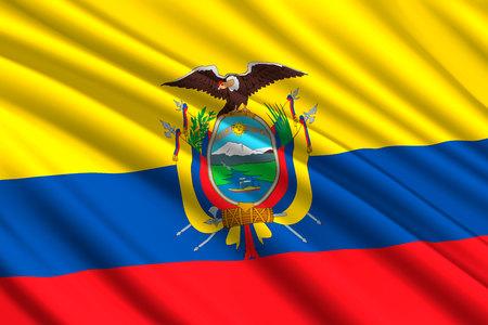 waving flag of Equador. Vector illustration Illustration