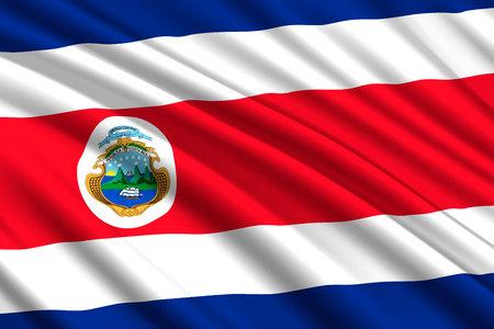 waving flag of Costa Rica. Vector illustration