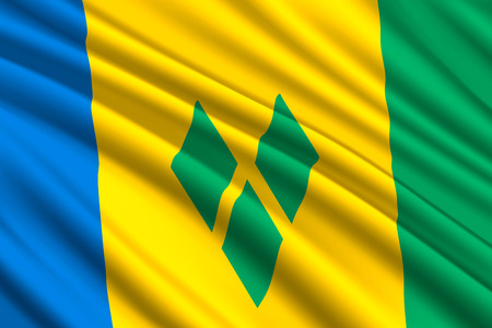waving flag of Saint Vincent and the Grenadines. Vector illustration