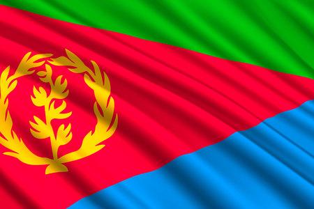 waving flag of Eritrea. Vector illustration