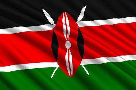 waving flag of Kenya. Vector illustration