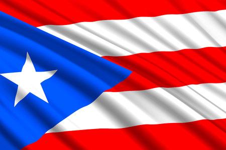 waving flag of Puerto Rico. Vector illustration