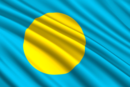 waving flag of Palau. Vector illustration