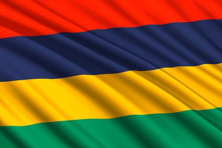 waving flag of Mauritius. Vector illustration