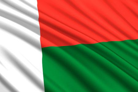 waving flag of Madagascar. Vector illustration