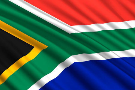 waving flag of South Africa. Vector illustration