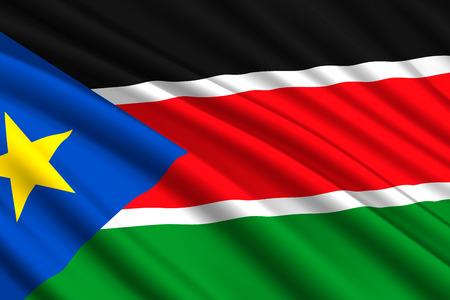 waving flag of South Sudan. Vector illustration Illustration