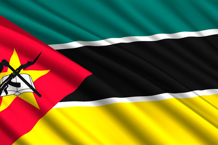 waving flag of Mozambique. Vector illustration