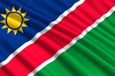 waving flag of Namibia. Vector illustration