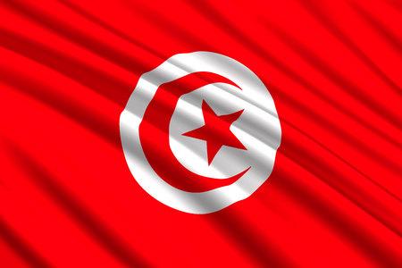 waving flag of Tunisia. Vector illustration Illustration