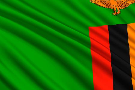 waving flag of Zambia. Vector illustration Illustration