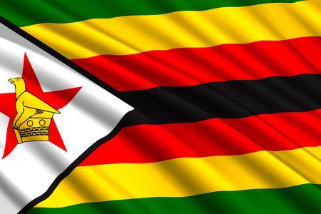 waving flag of Zimbabwe. Vector illustration Illustration