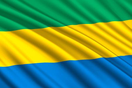 waving flag of Gabon. Vector illustration