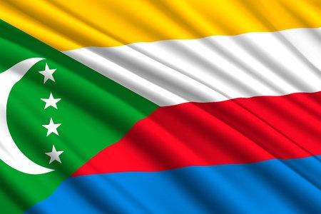 waving flag of Comoros. Vector illustration