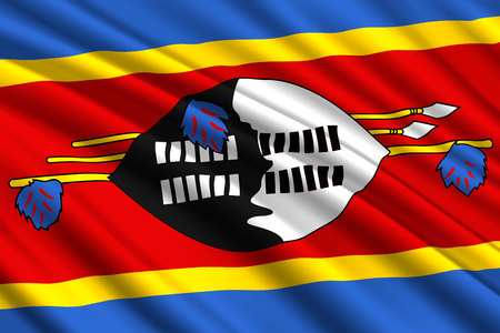 waving flag of Eswatini (Swaziland). Vector illustration