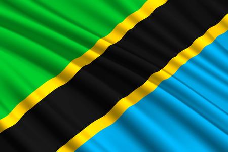 waving flag of Tanzania. Vector illustration Illustration