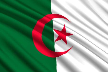waving flag of Algeria. Vector illustration Illustration