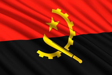 waving flag of Angola. Vector illustration Illustration