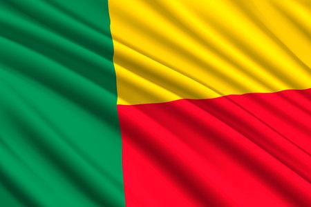 waving flag of Benin. Vector illustration