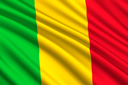 waving flag of Mali. Vector illustration