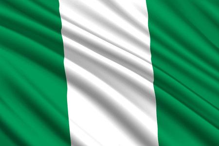 waving flag of Nigeria. Vector illustration