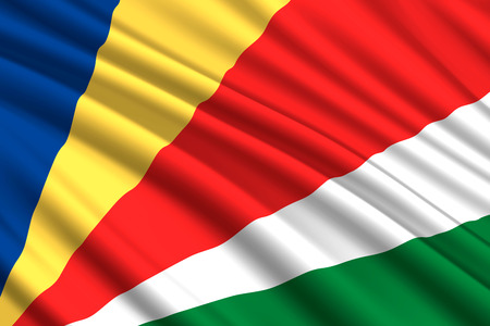 waving flag of Seychelles. Vector illustration