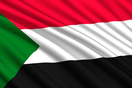 waving flag of Sudan. Vector illustration Illustration