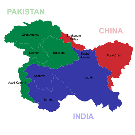 Map of Kashmir is a geographical region of the Indian subcontinent Foto de archivo - 124599442