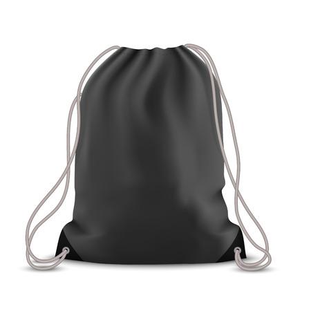 Black backpack bag. Sport bag mockup on white background