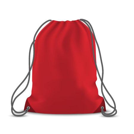 Red backpack bag. Sport bag mockup on white background