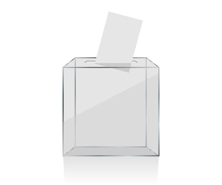 transparent ballot box with voting paper in hole Иллюстрация