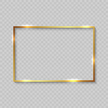 Gold square frame with shiny borders on transparent background