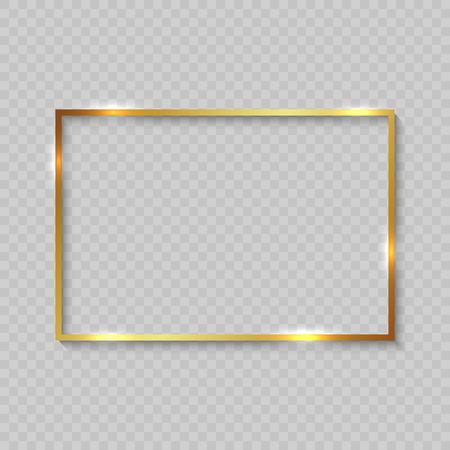 Marco cuadrado dorado con bordes brillantes sobre fondo transparente Ilustración de vector