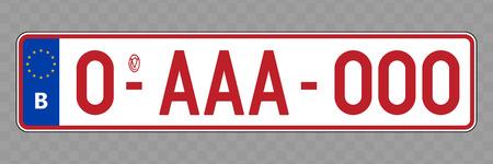 Número de placa. Placas de matrícula de vehículos de Bélgica Ilustración de vector
