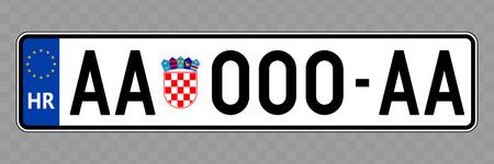 Nummernschild. Kfz-Kennzeichen von Kroatien