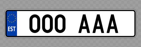 Nummernschild. Kfz-Kennzeichen von Estland