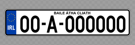 Number plate. Vehicle registration plates of Ireland
