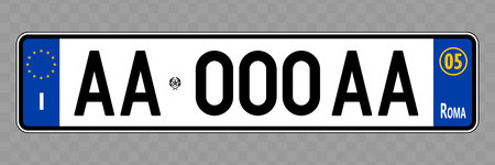 Number plate. Vehicle registration plates of Italy, Italian Standard-Bild - 118685207