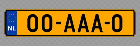 Targa. Targhe automobilistiche dei Paesi Bassi Vettoriali
