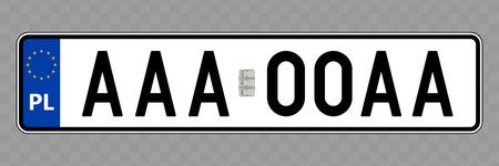 Number plate. Vehicle registration plates of Poland Illusztráció