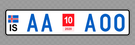 Number plate. Vehicle registration plates of Iceland