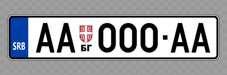 Number plate. Vehicle registration plates of Serbia Vettoriali