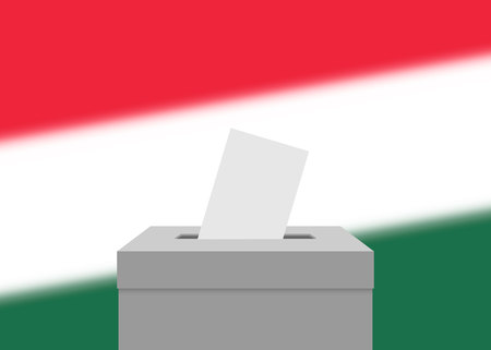 Hungary election banner background. Ballot Box with blurred flag