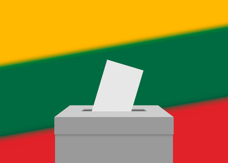Lithuania election banner background. Ballot Box with blurred flag