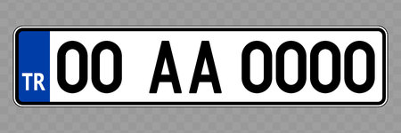 Number plate. Vehicle registration plates of Turkey Archivio Fotografico - 124599503