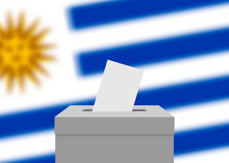 Uruguay election banner background. Ballot Box with blurred flag
