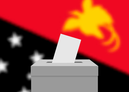 Papua New Guinea election banner background. Ballot Box with blurred flag
